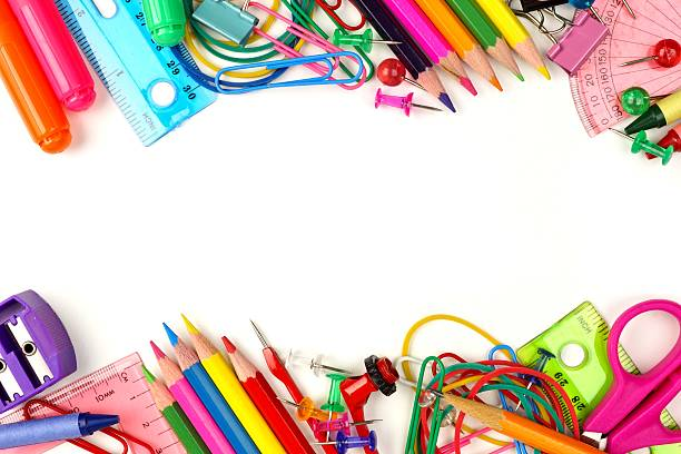 Double border of school supplies over white Double border of colorful school supplies on a white background school supplies border stock pictures, royalty-free photos & images