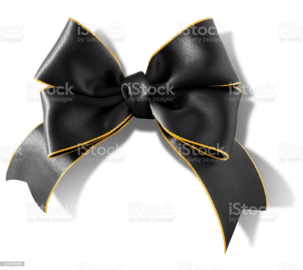Double bow gold rimmed black ribbon with clipping path stock photo