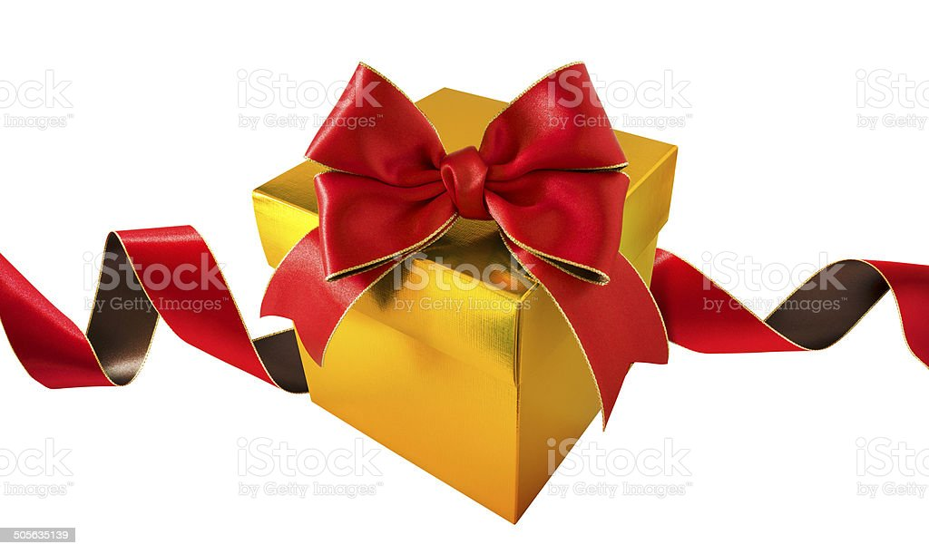 Double bow red ribbon with gold metallic gift box