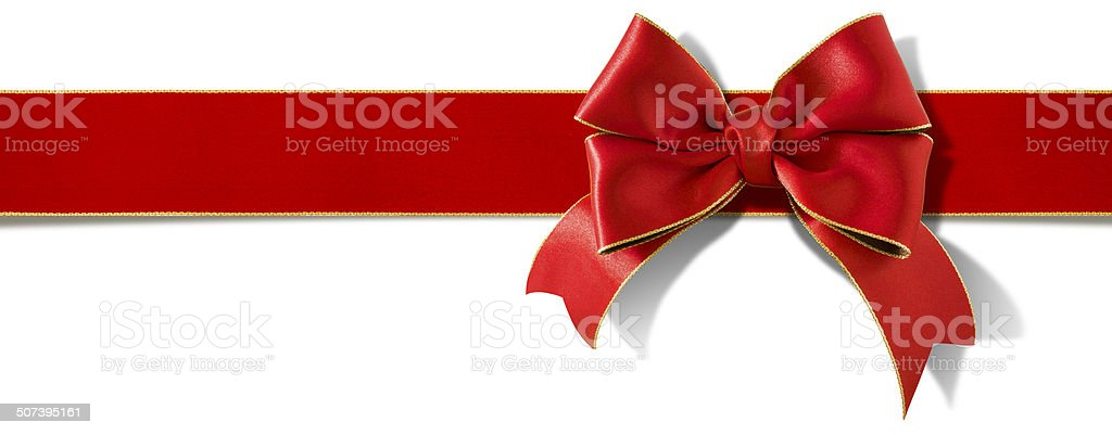 Double bow satin ribbon stock photo