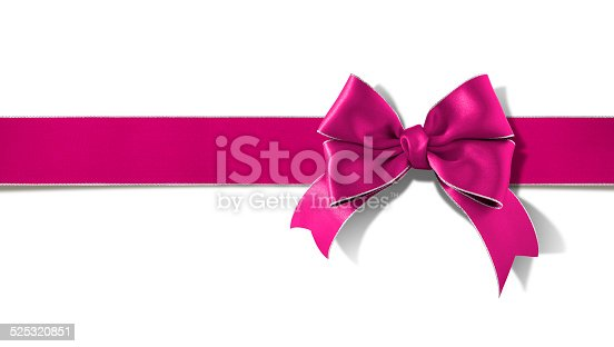 Double bow silver  rimmed pink ribbon with clipping path