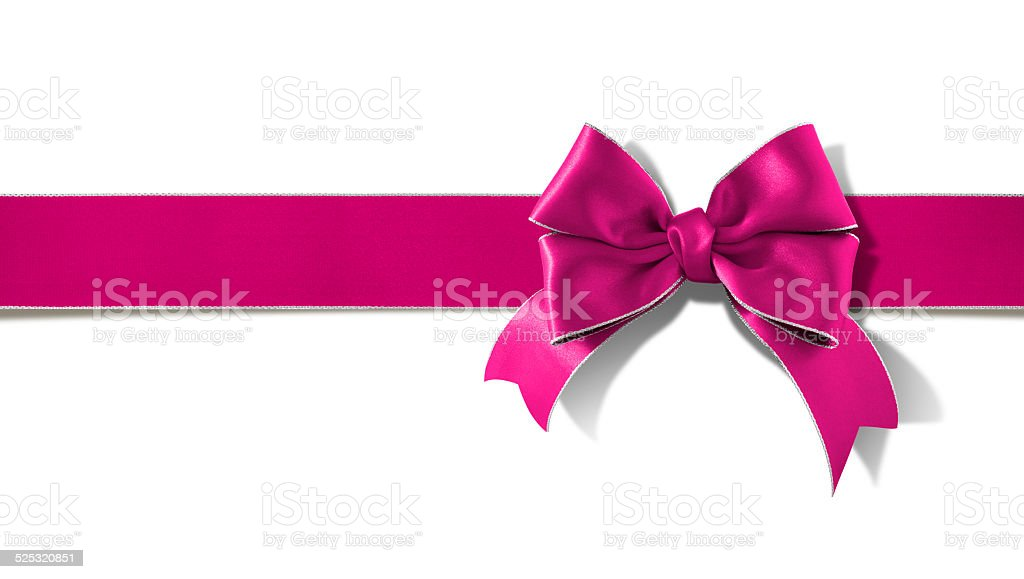 Double bow silver  rimmed pink ribbon with clipping path stock photo