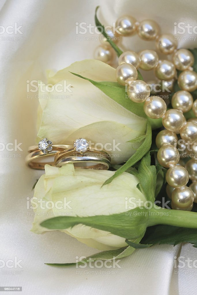 Double bridal set on white roses royalty-free stock photo