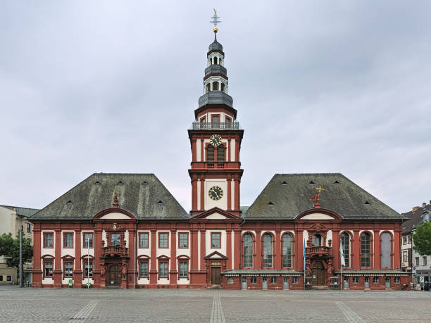 Double building of Old Town Hall and Church of St. Sebastian in Mannheim, Germany stock photo
