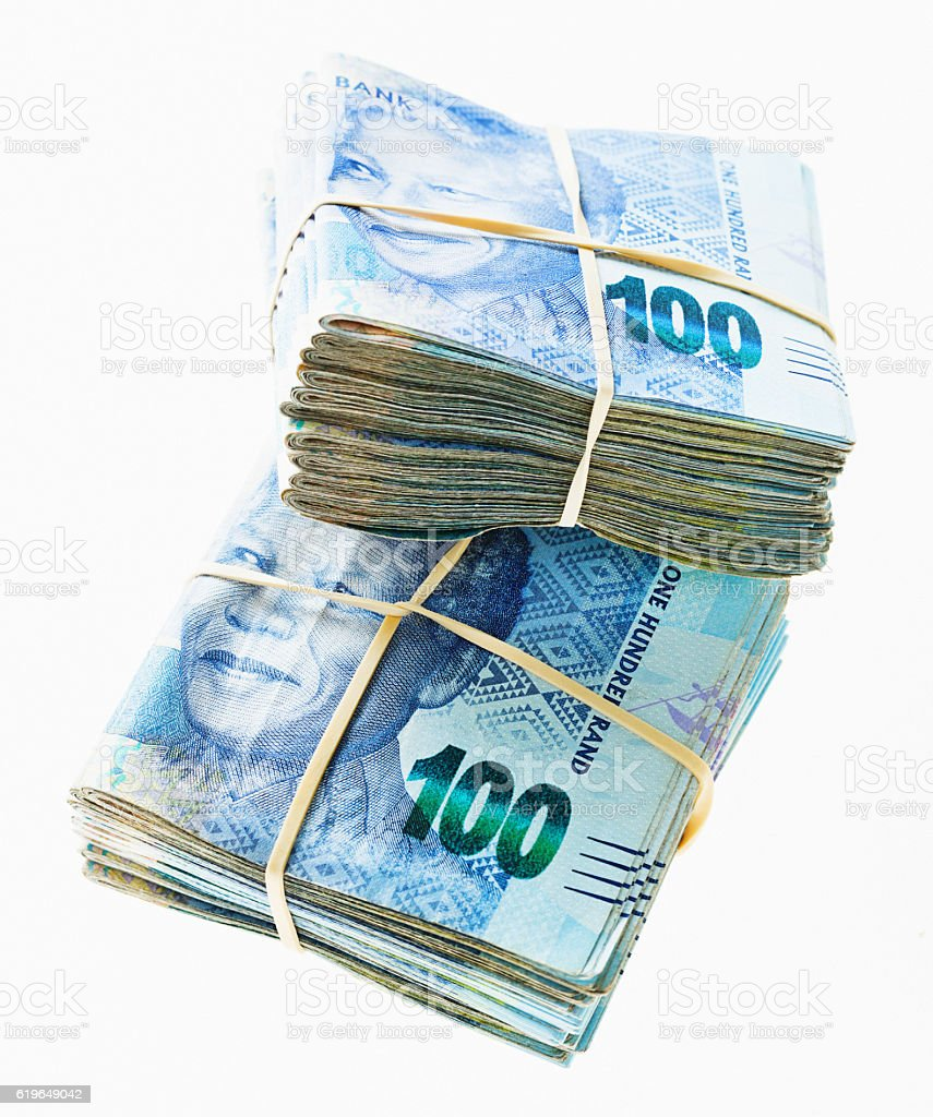 Double bundle of tens of thousands of South African Rands stock photo