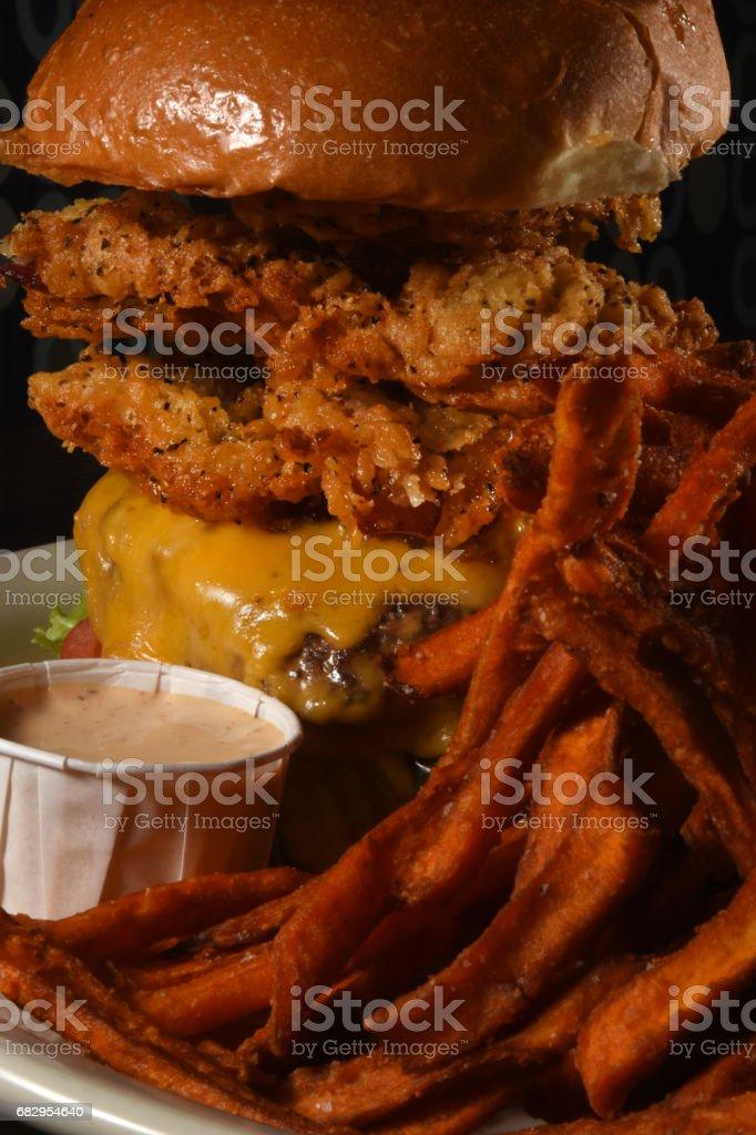 Double Burger Focus royalty-free stock photo