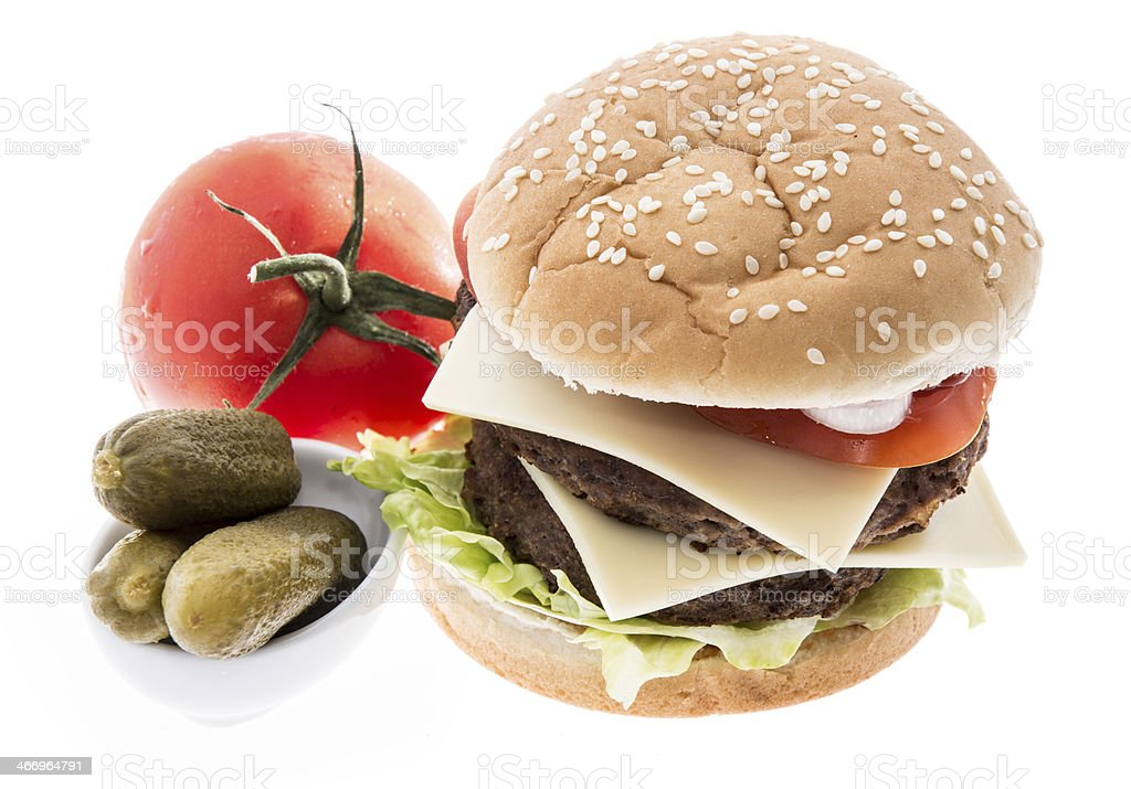 Double Burger with ingredients royalty-free stock photo