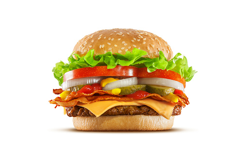 High resolution, digital capture of a double cheese cheeseburger with crispy bacon slices, American cheese, pickles, onions, tomatoes, lettuce, ketchup, and mustard, on a fresh sesame seed bun, set against a clean, white background sweep. Shot in an aspirational advertising style.