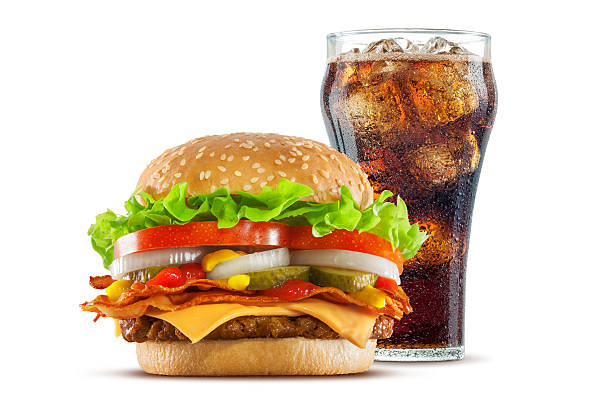 Double Cheese and Bacon Cheeseburger with Cola stock photo