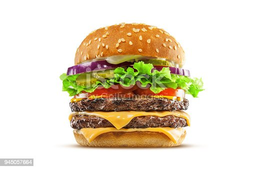 High resolution, digital capture of a big, fat, juicy double cheeseburger. Made with two 100% beef patties, two melty slices of cheese, lettuce, tomatoes, onion, and pickles, on a fresh sesame seed bun, and set against a clean, white background sweep. Shot in an aspirational advertising style.