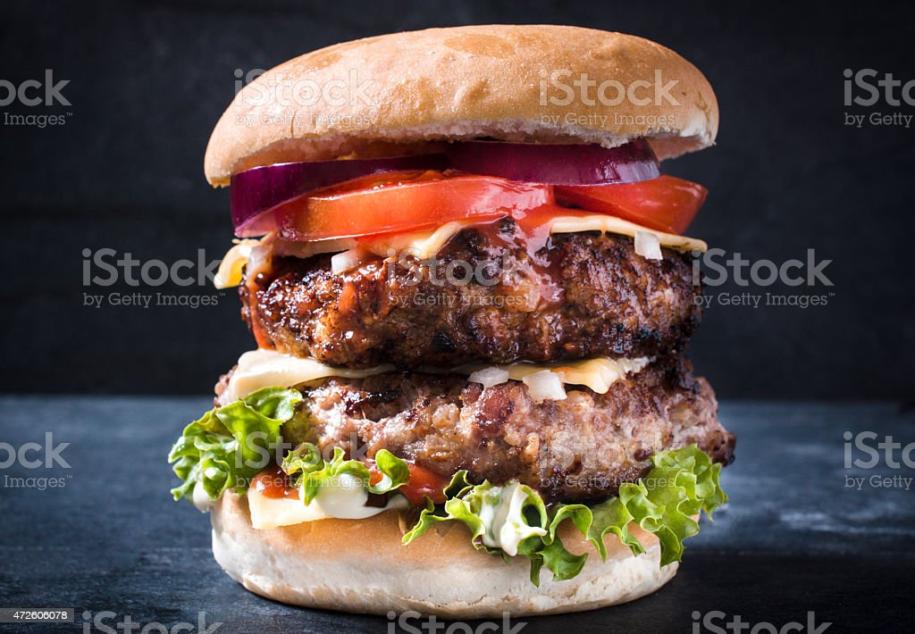 Double cheeseburger stock photo