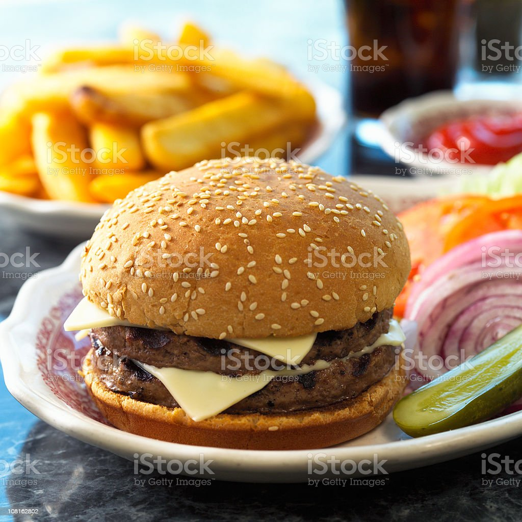 Double Cheeseburger with Fries royalty-free stock photo