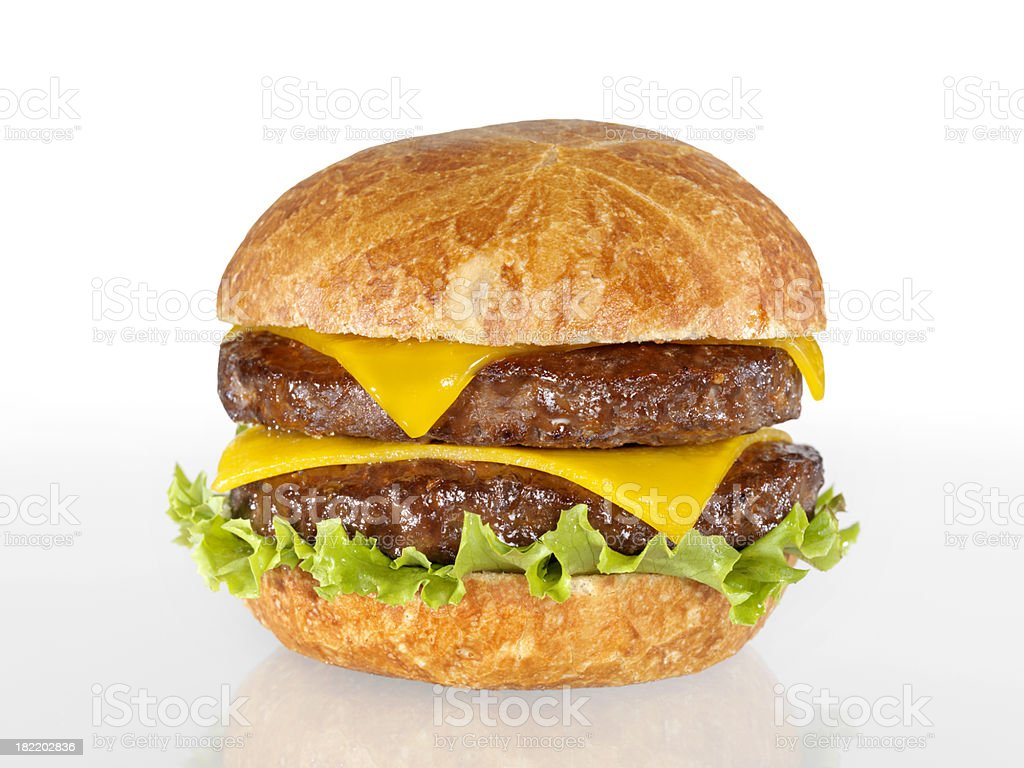 Double Cheeseburger with Lettuce royalty-free stock photo