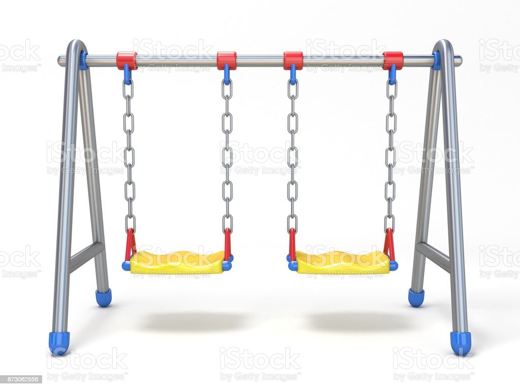 Double children swing front view 3D stock photo