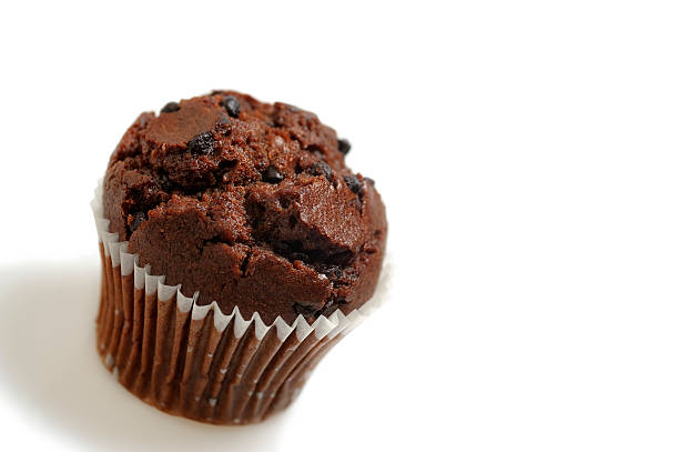 Double Chocolate Chip Muffin with copy space stock photo