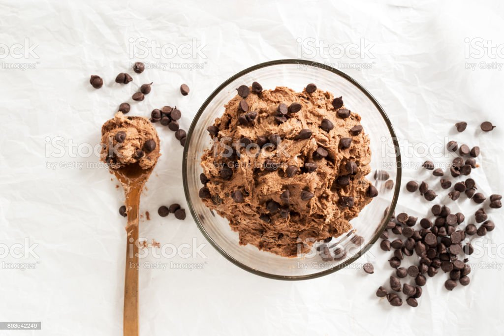 double chocolate chips cookies dough prepare for bake stock photo