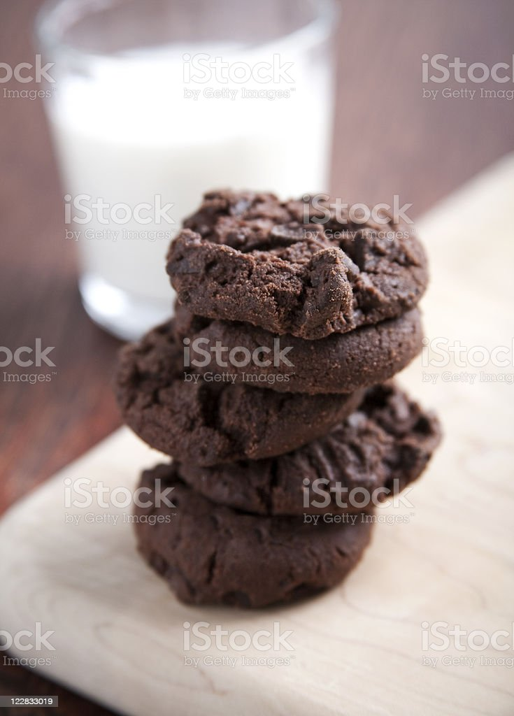 Double chocolate cookies and milk royalty-free stock photo