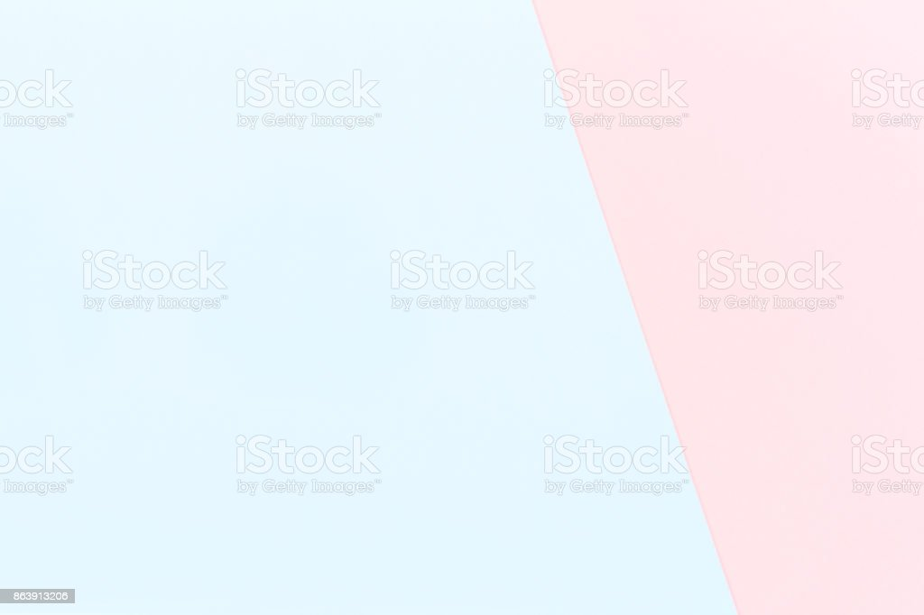 Double color blue and pink modern flat lay backgound stock photo