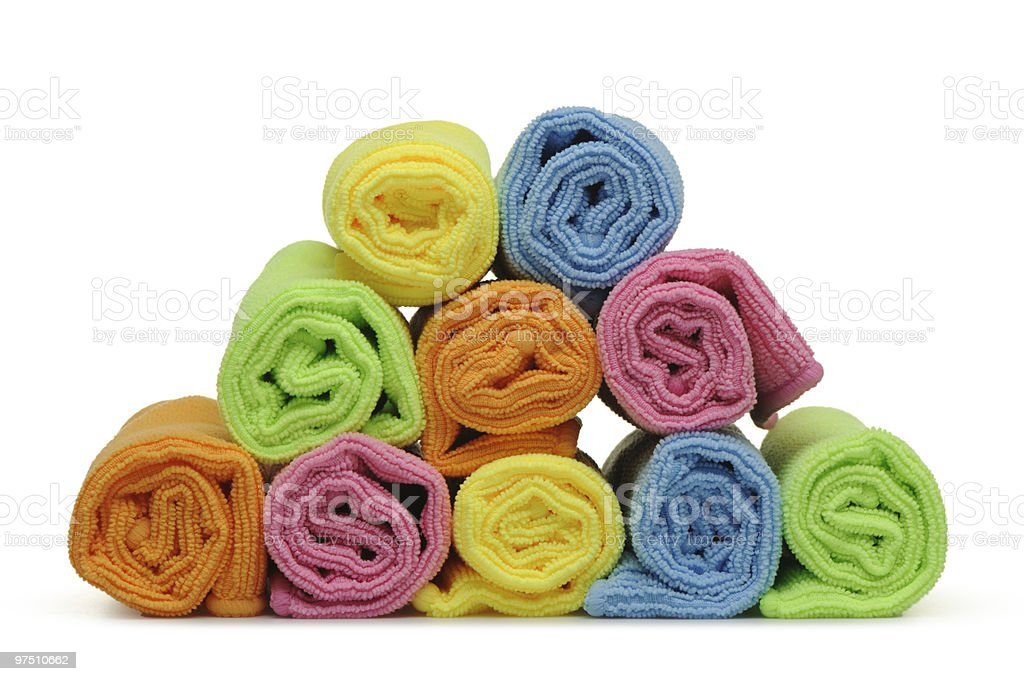 Double color towels curtailed into a roll royalty-free stock photo
