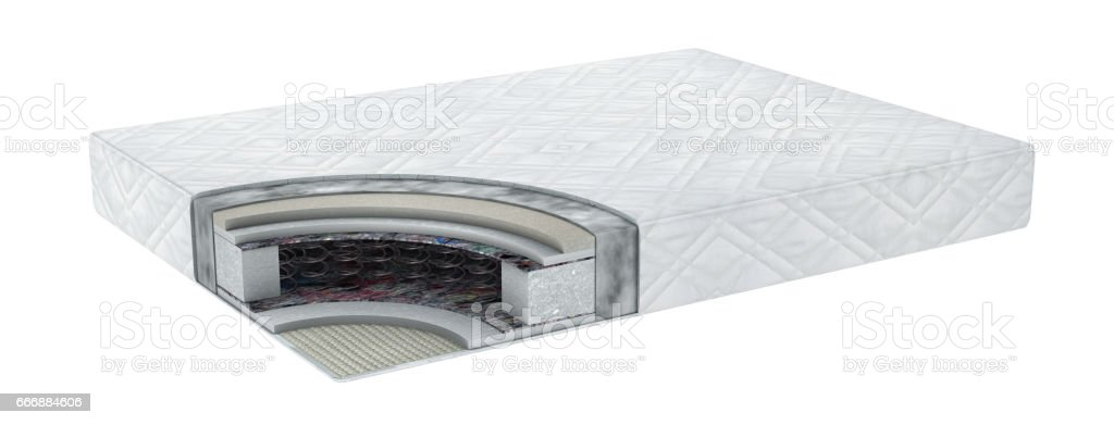 Double comfortable orthopedic mattress cut out in realistic style with layers view isolated 3d illustration stock photo
