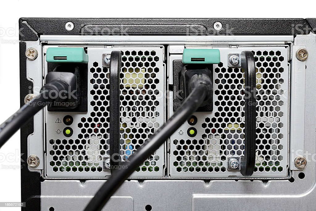 Double computer power supply in the server machine stock photo
