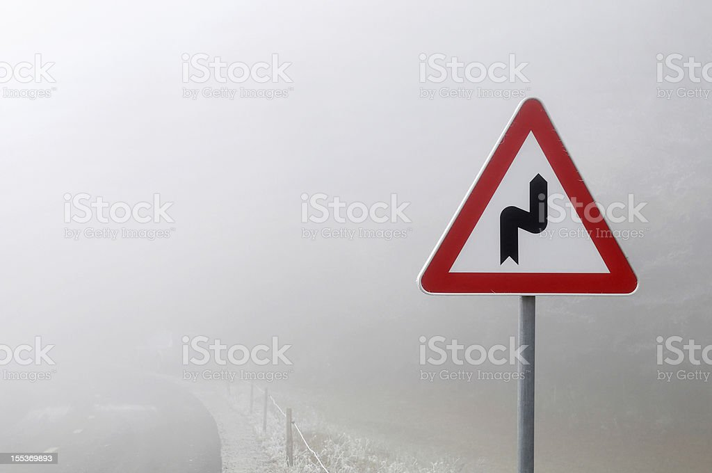 Double curve in  fog royalty-free stock photo