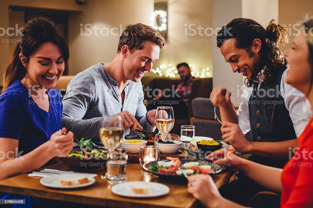 Double Date Dining - foto de stock