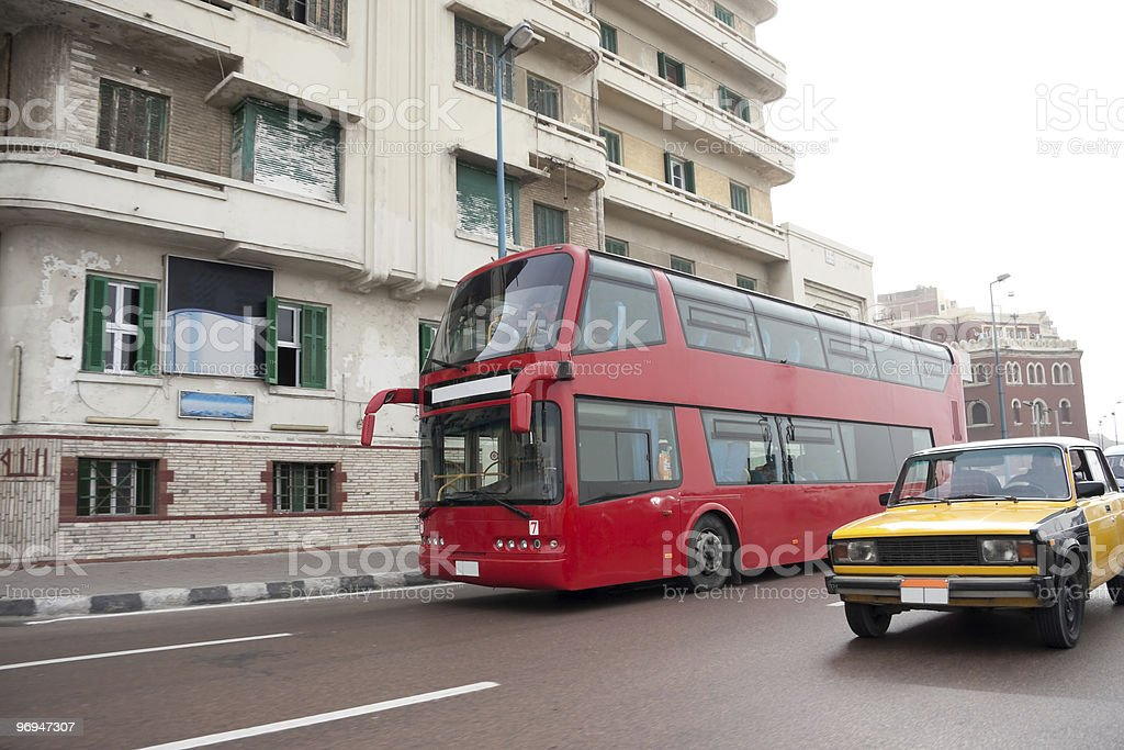 Double decker bus and taxi royalty-free stock photo