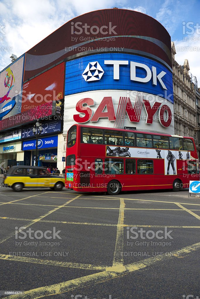 Double Decker Bus at Piccadilly Circus in London royalty-free stock photo