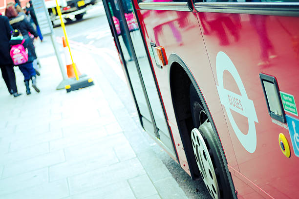 Double Decker Bus, Buses And Disabled Signs. London stock photo