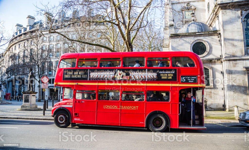 Double decker buses stock photo