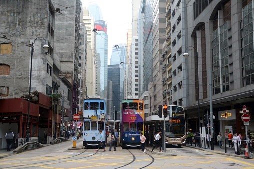 Double Decker Tram On Kings Road Sai Ying Pun Hong Kong Island Stock Photo - Download Image Now