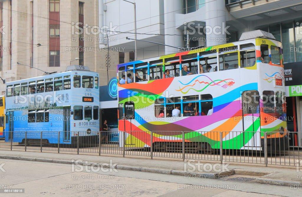 Double decker tram public transport Hong Kong stock photo