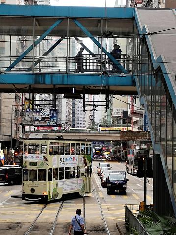 Double Decker Tram Riding In Causeway Bay Hong Kong Island Stock Photo - Download Image Now