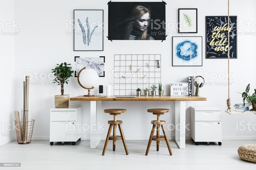 Double desk with accessories stock photo