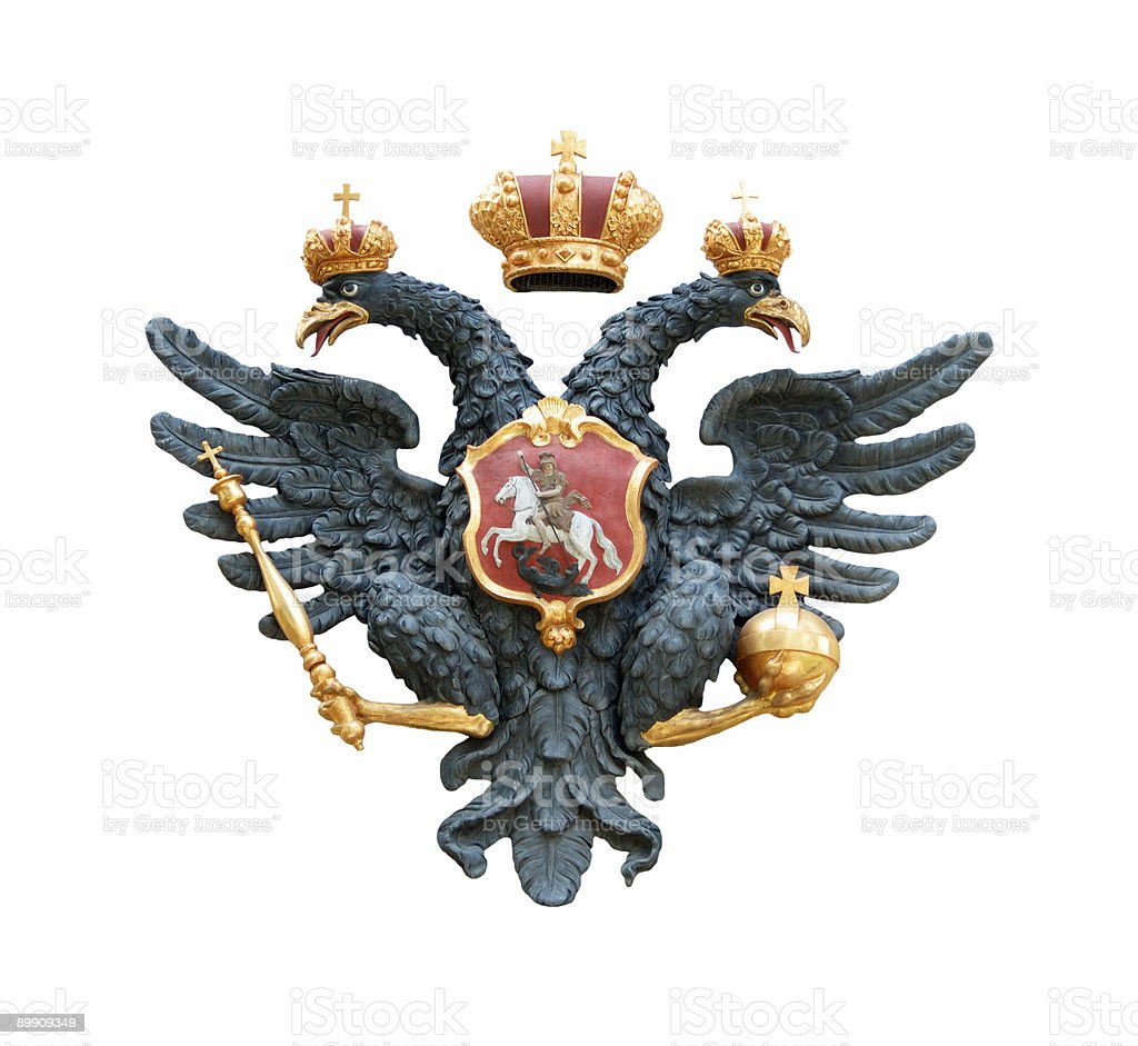 Double eagle with scepter and orb stock photo