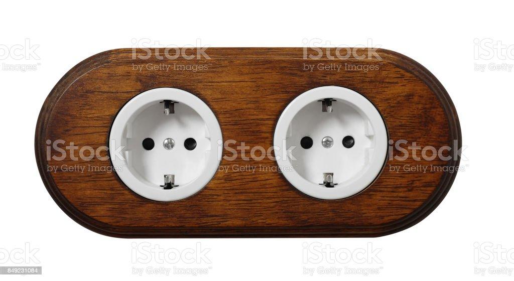 Double electric socket stock photo