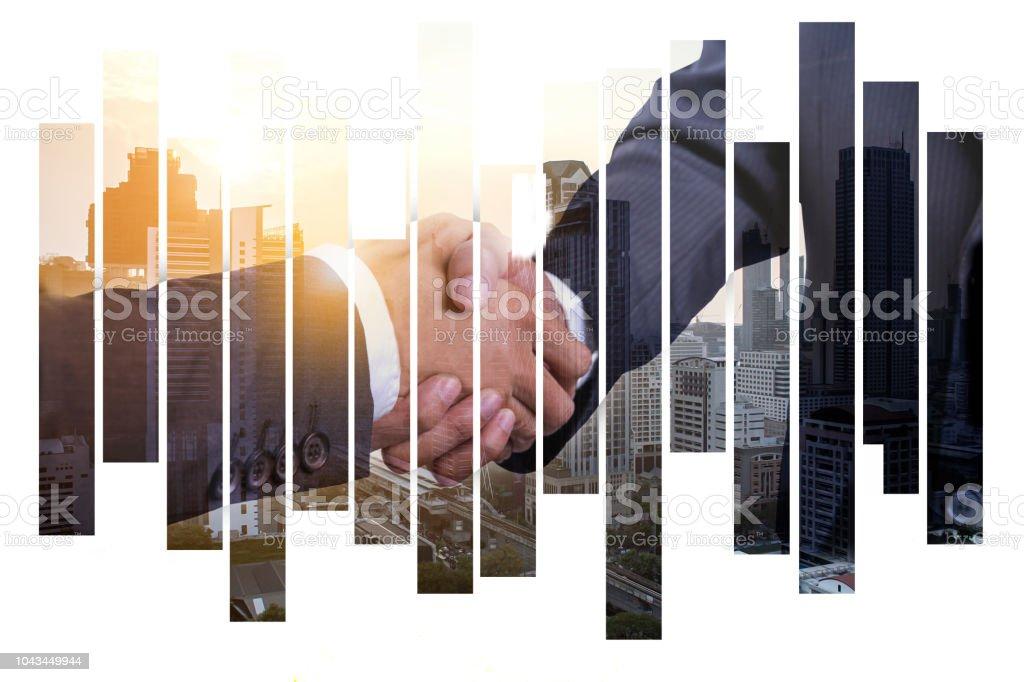 Çift explosure iş adamı karşılıklı soyut şehir manzaralı Backgorund, takım çalışması ve finans kavramı üzerinde stok fotoğrafı