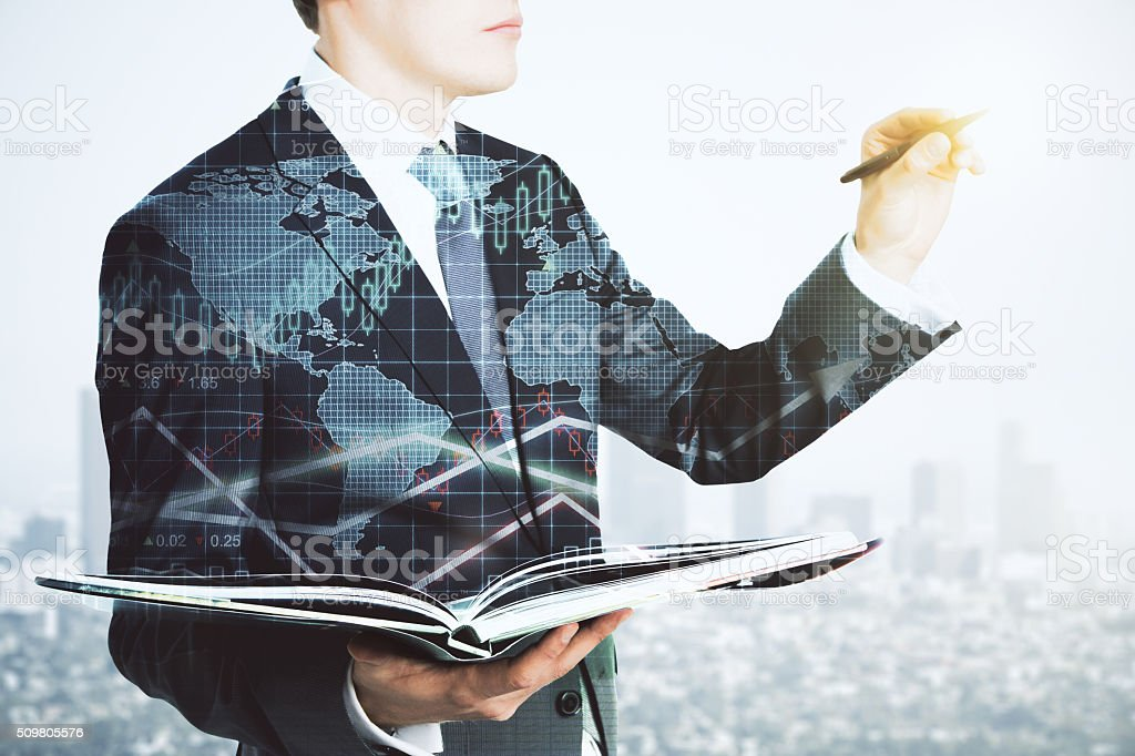 Double explosure with business chart and businessman with book a stock photo