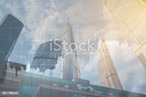 istock Double explosure with business charts and financial district. 931768442