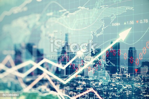 istock Double explosure with businesss charts and financial district of 501389450