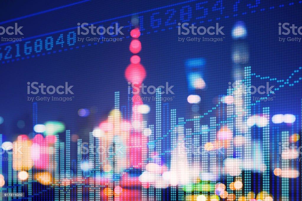 Doppelte explosure mit Business Diagramme und Finanzviertels – Foto