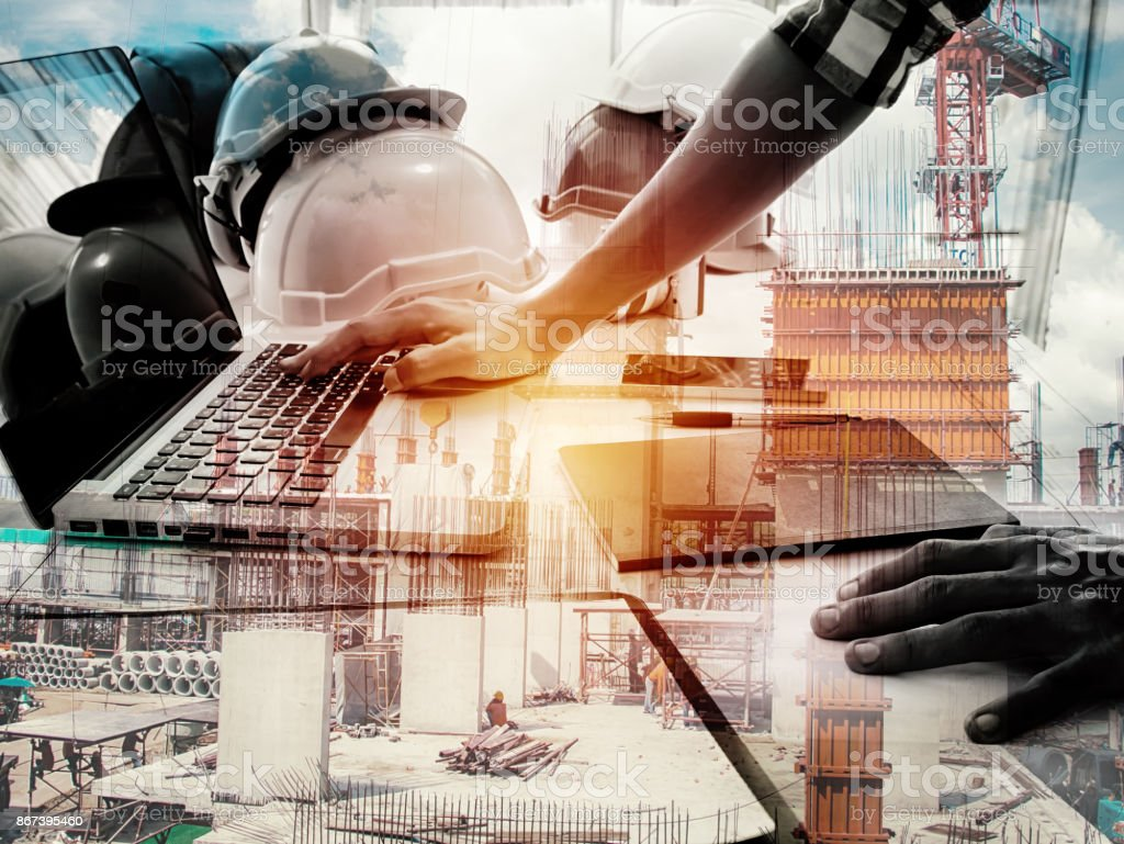 Double exposure architect working with laptop and blueprints in workplace for architectural plan,selective focus,Business concept stock photo