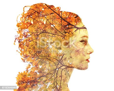 Double exposure portrait of attractive lady combined with photograph of tree. Be creative! Autumn Fall leaves seasonal concept