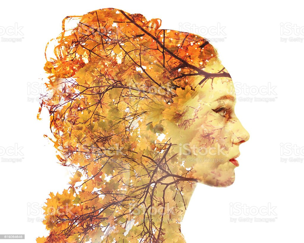 Double exposure autumn portrait stock photo