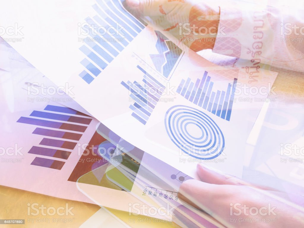 Double exposure Bank notes and credit cards ,Close-up of Businessman. stock photo