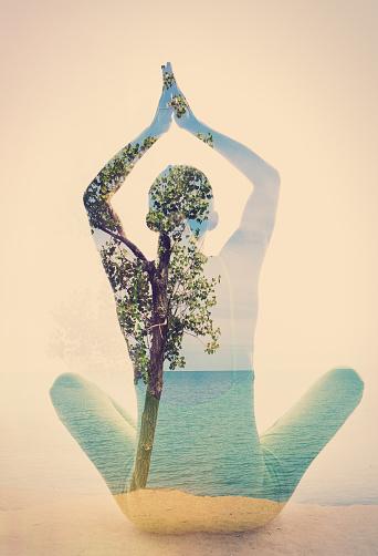 Double Exposure Beach Yoga Stock Photo - Download Image Now