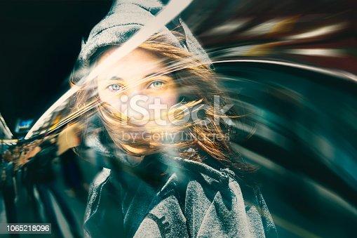 istock Double exposure, beautiful girl and cityscape. 1065218096
