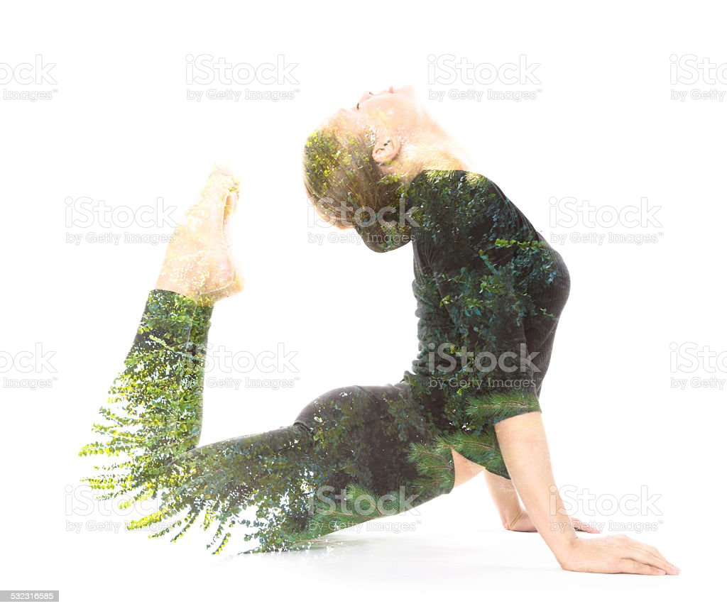 Double exposure beauty portrait stock photo