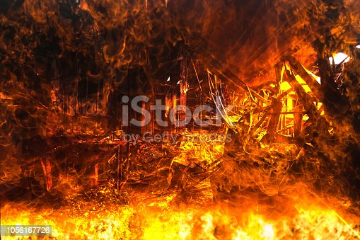 Double exposure Burned interiors of office decoration after fire in the factory / Damage in Factory After Fire Inferno